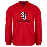 V Neck Red Raglan Windshirt-SJ Redstorm Stacked