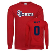 Red Long Sleeve T Shirt-St Johns, Custom Tee w/ Name and #