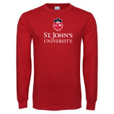 Red Long Sleeve T Shirt-University Mark Stacked