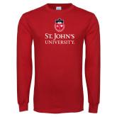 Red Long Sleeve T Shirt-University Mark Stacked