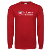 Red Long Sleeve T Shirt-University Mark Flat