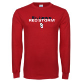 Red Long Sleeve T Shirt-St Johns Red Storm Stacked
