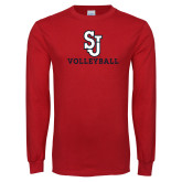 Red Long Sleeve T Shirt-Volleyball