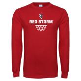 Red Long Sleeve T Shirt-Basketball Sharp Net Design