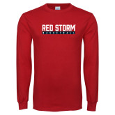 Red Long Sleeve T Shirt-Basketball Bar Design