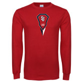 Red Long Sleeve T Shirt-Modern Lacrosse Stick