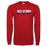 Red Long Sleeve T Shirt-Baseball Bar Design