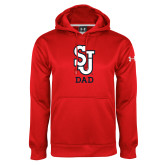 Under Armour Red Performance Sweats Team Hoodie-Dad