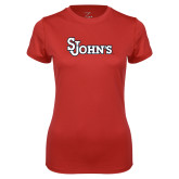 Ladies Syntrel Performance Red Tee-St Johns