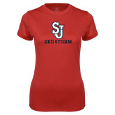 Ladies Syntrel Performance Red Tee-SJ Redstorm Stacked