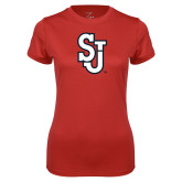 Ladies Syntrel Performance Red Tee-SJ
