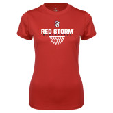 Ladies Syntrel Performance Red Tee-Basketball Sharp Net Design