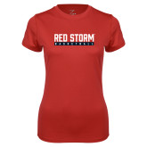 Ladies Syntrel Performance Red Tee-Basketball Bar Design
