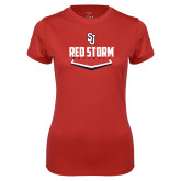 Ladies Syntrel Performance Red Tee-Baseball Plate Design