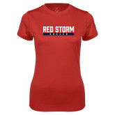 Ladies Syntrel Performance Red Tee-Soccer Bar Design