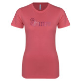 Next Level Ladies SoftStyle Junior Fitted Pink Tee-St Johns Foil