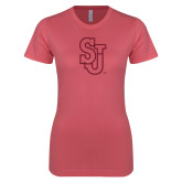 Next Level Ladies SoftStyle Junior Fitted Pink Tee-SJ Hot Pink Glitter