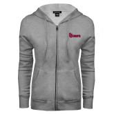 ENZA Ladies Grey Fleece Full Zip Hoodie-St Johns