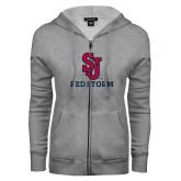 ENZA Ladies Grey Fleece Full Zip Hoodie-SJ Redstorm Stacked
