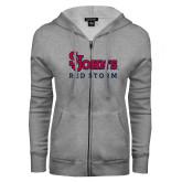 ENZA Ladies Grey Fleece Full Zip Hoodie-St Johns Red Storm