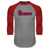 Grey/Red Raglan Baseball T Shirt-St Johns