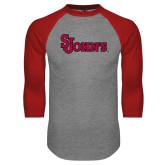Grey/Red Raglan Baseball T Shirt-St Johns