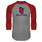 Grey/Red Raglan Baseball T Shirt-SJ Redstorm Stacked