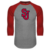 Grey/Red Raglan Baseball T Shirt-SJ