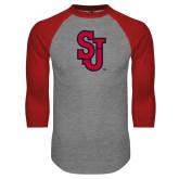 Grey/Red Raglan Baseball T Shirt-SJ