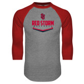 Grey/Red Raglan Baseball T Shirt-Baseball Plate Design
