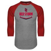 Grey/Red Raglan Baseball T Shirt-Baseball Plate Design