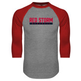 Grey/Red Raglan Baseball T Shirt-Baseball Bar Design