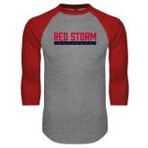 Grey/Red Raglan Baseball T Shirt-Baseball Bar Design