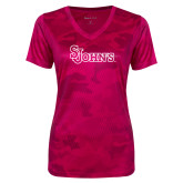 Ladies Pink Raspberry Camohex Performance Tee-St Johns