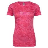 Next Level Ladies Junior Fit Fuchsia Burnout Tee-St Johns Foil