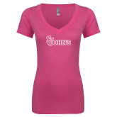Next Level Ladies Junior Fit Deep V Pink Tee-St Johns