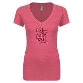 Next Level Ladies Vintage Pink Tri Blend V-Neck Tee-SJ Hot Pink Glitter