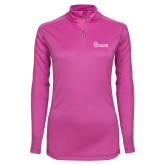 Ladies Syntrel Interlock Raspberry 1/4 Zip-St Johns
