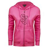ENZA Ladies Fuchsia Fleece Full Zip Hoodie-SJ Hot Pink Glitter
