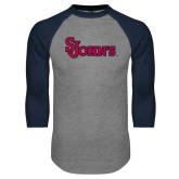 Grey/Navy Raglan Baseball T Shirt-St Johns