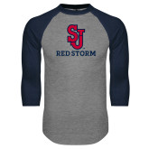 Grey/Navy Raglan Baseball T Shirt-SJ Redstorm Stacked