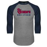 Grey/Navy Raglan Baseball T Shirt-St Johns Red Storm