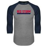 Grey/Navy Raglan Baseball T Shirt-Baseball Bar Design