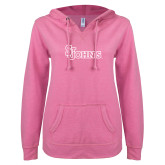 ENZA Ladies Hot Pink V Notch Raw Edge Fleece Hoodie-St Johns