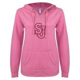 ENZA Ladies Hot Pink V Notch Raw Edge Fleece Hoodie-SJ Hot Pink Glitter