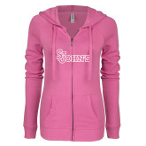 ENZA Ladies Hot Pink Light Weight Fleece Full Zip Hoodie-St Johns