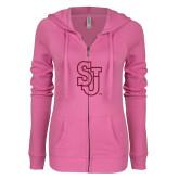 ENZA Ladies Hot Pink Light Weight Fleece Full Zip Hoodie-SJ Hot Pink Glitter