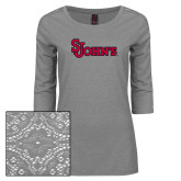 Ladies Grey Heather Tri Blend Lace 3/4 Sleeve Tee-St Johns