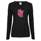 Ladies Black Long Sleeve V Neck Tee-SJ