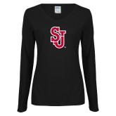 Ladies Black Long Sleeve V Neck T Shirt-SJ